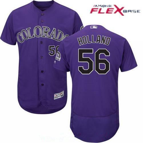 Men's Colorado Rockies #56 Greg Holland Purple Alternate Stitched MLB Majestic Flex Base Jersey