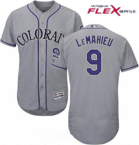 Men's Colorado Rockies #9 DJ LeMahieu Gray Road Stitched MLB Majestic Flex Base Jersey