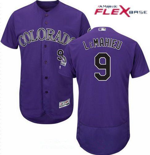 Men's Colorado Rockies #9 DJ LeMahieu Purple Alternate Stitched MLB Majestic Flex Base Jersey
