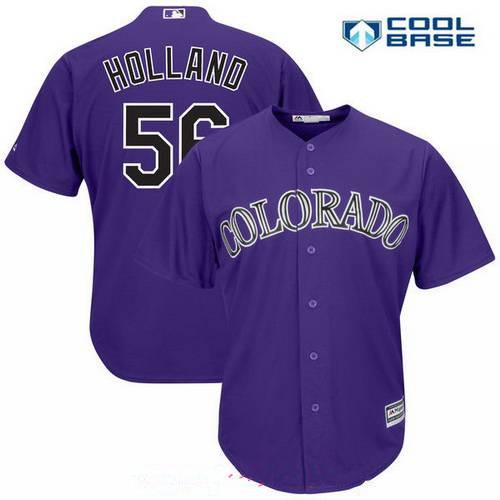 Men's Colorado Rockies #56 Greg Holland Purple Alternate Stitched MLB Majestic Cool Base Jersey