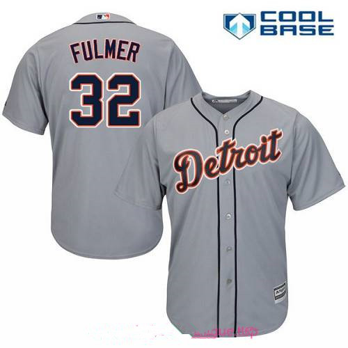 6c90d427773 Men s Detroit Tigers  32 Michael Fulmer Gray Road Stitched MLB Majestic  Cool Base Jersey