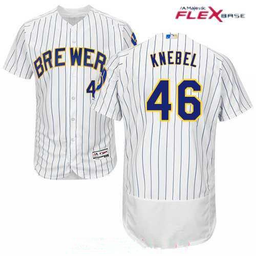 Men's Milwaukee Brewers #46 Corey Knebel White Pinstripe Stitched MLB Majestic Flex Base Jersey