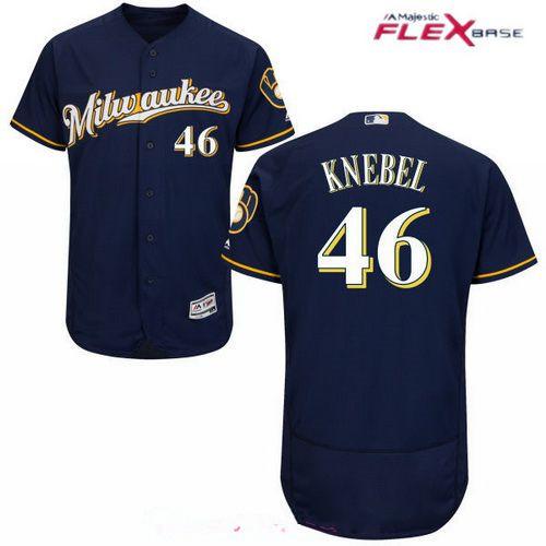 Men's Milwaukee Brewers #46 Corey Knebel Navy Blue Milwaukee Stitched MLB Majestic Flex Base Jersey