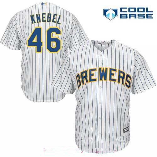 Men's Milwaukee Brewers #46 Corey Knebel White Pinstripe Stitched MLB Majestic Cool Base Jersey