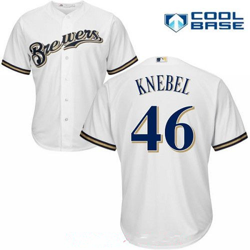 Men's Milwaukee Brewers #46 Corey Knebel All White Home Stitched MLB Majestic Cool Base Jersey