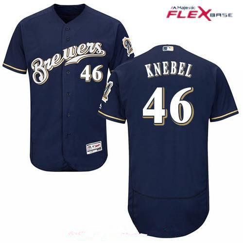 Men's Milwaukee Brewers #46 Corey Knebel Navy Blue Brewers Stitched MLB Majestic Flex Base Jersey