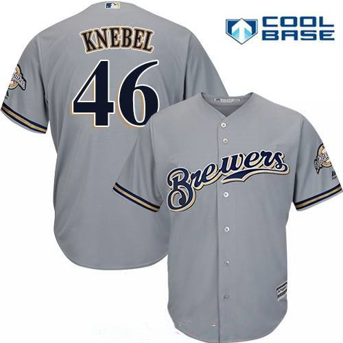 Men's Milwaukee Brewers #46 Corey Knebel Gray Road Stitched MLB Majestic Cool Base Jersey
