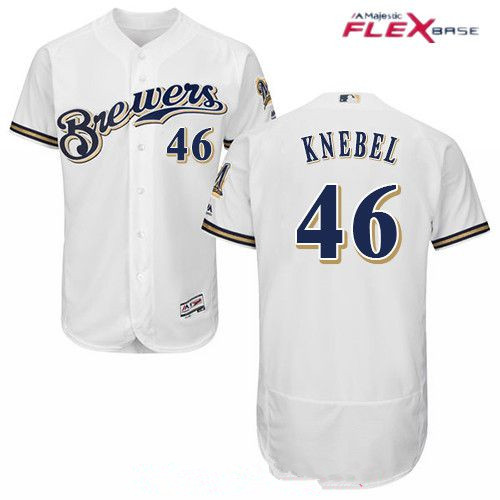 Men's Milwaukee Brewers #46 Corey Knebel White Flexbase Authentic Collection MLB Jersey