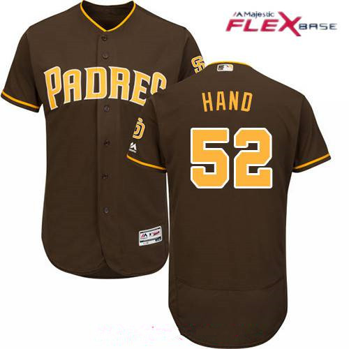Men's San Diego Padres #52 Brad Hand Brown Alternate Stitched MLB Majestic Flex Base Jersey