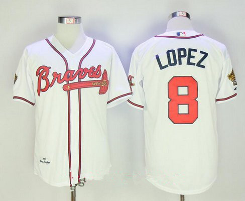 Men's Atlanta Braves #8 Javy Lopez White Home Throwback 1995 World Series with 30th Patch Stitched MLB Mitchell & Ness Jersey