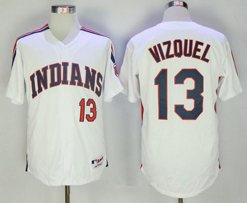 Men's Cleveland Indians #13 Omar Vizquel Retired Old White Stitched MLB Majestic Cooperstown Collection Jersey