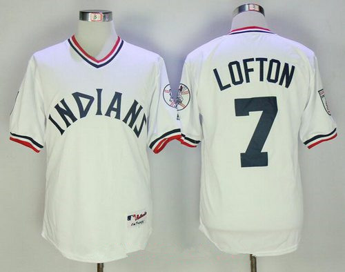 Men's Cleveland Indians #7 Kenny Lofton White 1973 Turn Back the Clock Stitched MLB Majestic Cooperstown Collection Jersey