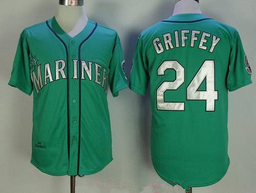 Men's Seattle Mariners #24 Ken Griffey Jr. Teal Green 1995 Throwback Cooperstown Collection Stitched MLB Mitchell & Ness Jersey