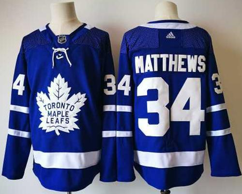 Men's Toronto Maple Leafs #34 Auston Matthews Royal Blue Home 2017-2018 adidas Hockey Stitched NHL Jersey