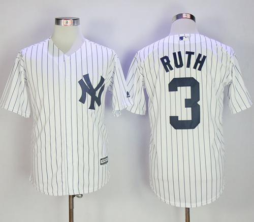 c8e7025ac ... Fashion Stars Stripes Flexbase Authentic Stitched MLB Jersey New York  Yankees 3 Babe Ruth White Strip New Cool Base Stitched MLB Jersey ...