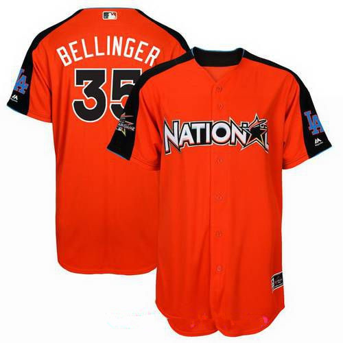 Men's National League Los Angeles Dodgers #35 Cody Bellinger Majestic Orange 2017 MLB All-Star Game Home Run Derby Player Jersey