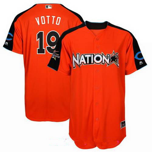 Men's National League Cincinnati Reds #19 Joey Votto Majestic Orange 2017 MLB All-Star Game Home Run Derby Player Jersey