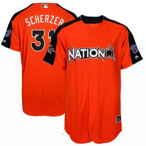 Men's National League Washington Nationals #31 Max Scherzer Majestic Orange 2017 MLB All-Star Game Home Run Derby Player Jersey