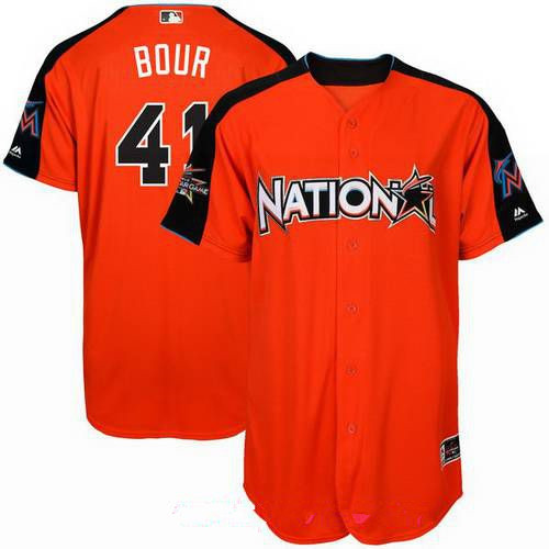 Men's National League Miami Marlins #41 Justin Bour Majestic Orange 2017 MLB All-Star Game Home Run Derby Player Jersey