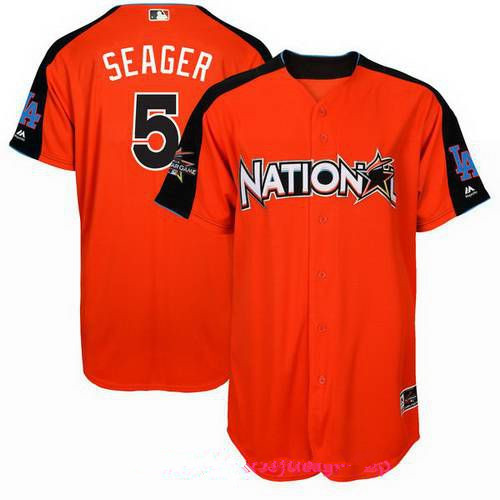 Men's National League Los Angeles Dodgers #5 Corey Seager Majestic Orange 2017 MLB All-Star Game Authentic Home Run Derby Jersey