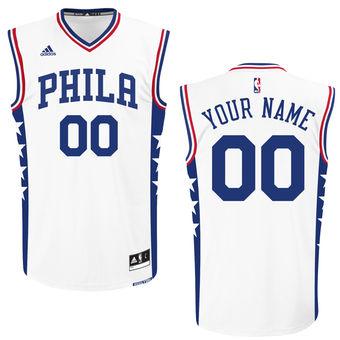 Men's Philadelphia 76ers adidas White Custom Replica Home Jersey