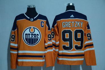 Men's Edmonton Oilers #99 Wayne Gretzky Orange 2017-2018 adidas Hockey Stitched NHL Jersey