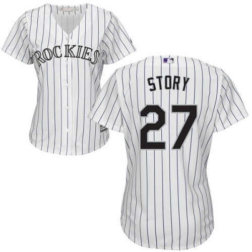 Rockies #27 Trevor Story White Strip Home Women's Stitched MLB Jersey