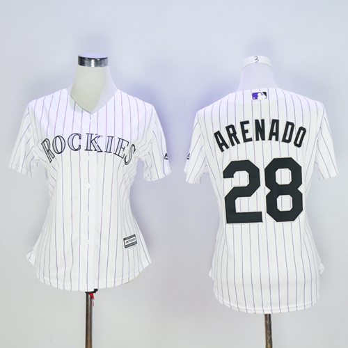 Rockies #28 Nolan Arenado White Strip Women's Home Stitched MLB Jersey