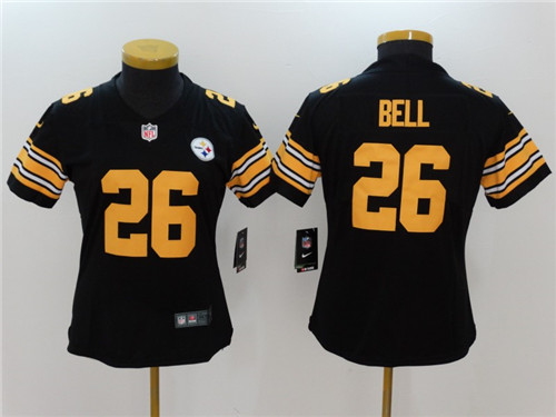 45a062cd6 ... Womens Pittsburgh Steelers 26 LeVeon Bell Black 2016 Color Rush  Stitched NFL Nike Limited Jersey LeVeon Bell Mens Elite ...