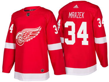 Men's Detroit Red Wings #34 Petr Mrazek Red Home 2017-2018 adidas Hockey Stitched NHL Jersey