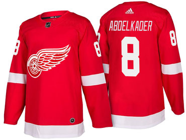 Men's Detroit Red Wings #8 Justin Abdelkader Red Home 2017-2018 adidas Hockey Stitched NHL Jersey