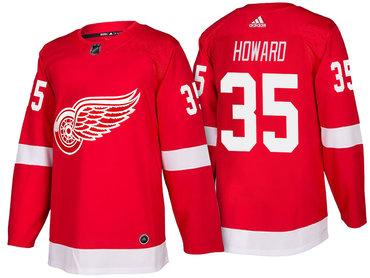 Men's Detroit Red Wings #35 Jimmy Howard Red Home 2017-2018 adidas Hockey Stitched NHL Jersey
