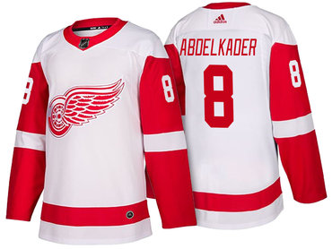 Men's Detroit Red Wings #8 Justin Abdelkader White 2017-2018 adidas Hockey Stitched NHL Jersey