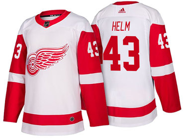 Men's Detroit Red Wings #43 Darren Helm White 2017-2018 adidas Hockey Stitched NHL Jersey