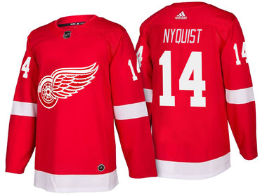 Men's Detroit Red Wings #14 Gustav Nyquist Red Home 2017-2018 adidas Hockey Stitched NHL Jersey