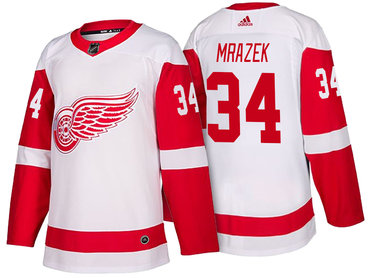 Men's Detroit Red Wings #34 Petr Mrazek White 2017-2018 adidas Hockey Stitched NHL Jersey