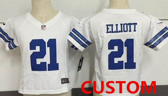 6cae09ab702 ... Custom Toddler Dallas Cowboys White Road Stitched NFL Nike Game Jersey  ...