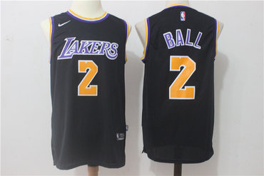 Men's 2017 Draft Los Angeles Lakers #2 Lonzo Ball Black 2017-2018 Nike Swingman Stitched NBA Jersey