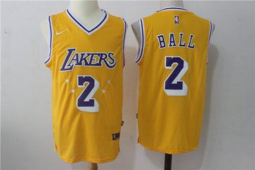 Nike Los Angeles Lakers #2 Lonzo Ball w Purple Number Stitched NBA Jersey