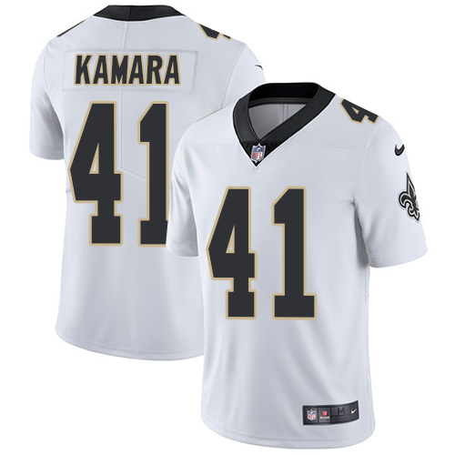 caa1c5bbb Nike New Orleans Saints 41 Alvin Kamara White Mens Stitched NFL Vapor  Untouchable Limited Jersey ...