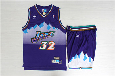 Jazz 32 Karl Malone Purple Hardwood Classics Jersey(With Shorts)