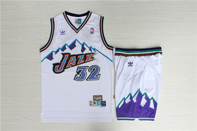Jazz 32 Karl Malone White Hardwood Classics Jersey(With Shorts)