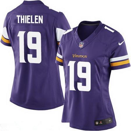 Women's Minnesota Vikings #19 Adam Thielen Purple Team Color Stitched NFL Nike Game Jersey