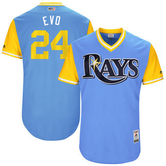 Men's Tampa Bay Rays Nathan Eovaldi Evo Majestic Light Blue 2017 Players Weekend Authentic Jersey