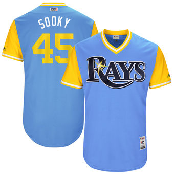 Men's Tampa Bay Rays Jesus Sucre Sooky Majestic Light Blue 2017 Players Weekend Authentic Jersey