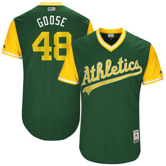 Men's Oakland Athletics Daniel Gossett Goose Majestic Green 2017 Players Weekend Authentic Jersey