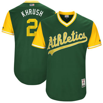 Men's Oakland Athletics Khris Davis Khrush Majestic Green 2017 Players Weekend Authentic Jersey
