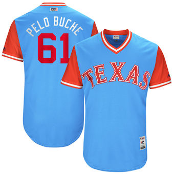 Men's Texas Rangers Robinson Chirinos Pelo Buche Majestic Light Blue 2017 Players Weekend Authentic Jersey