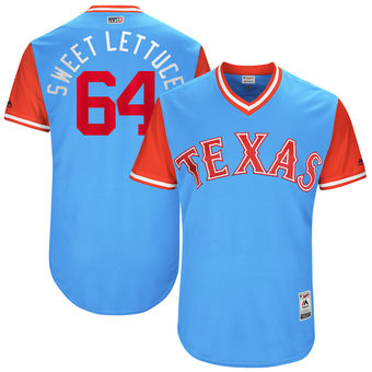 Men's Texas Rangers AJ Griffin Sweet Lettuce Majestic Light Blue 2017 Players Weekend Authentic Jersey