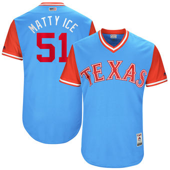Men's Texas Rangers Matt Bush Matty Ice Majestic Light Blue 2017 Players Weekend Authentic Jersey